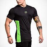 LETIC GYM Herren Fitness BODY FIT High Performance V-NECK Mesh T-Shirt Schwarz-Neongrün