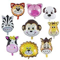 Idea Regalo - Wolintek 9 Pezzi Palloncini Animali Giungla, Palloncini Animali Elio - L'elio è Permesso, Perfetto per i Bambini Decorazione Festa di Compleanno (Dimensioni: 30-50cm)