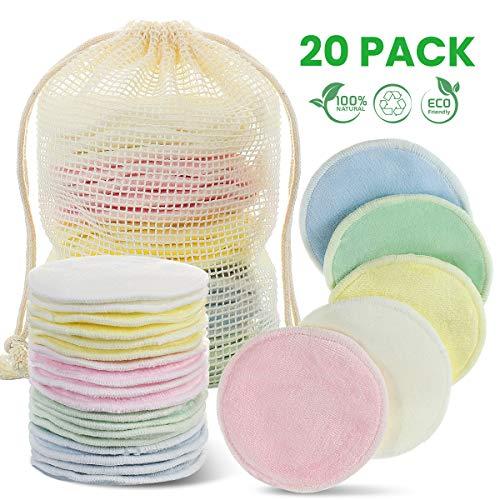 Discos Desmaquillantes Reutilizables, Godmorn 20 Pcs Almohadillas Desmaquillantes de Algodones,Con Bolsa de Lavado,Hechos en Fibra de Bambú, Aptos Para Todo Tipo de Pieles y Bebés