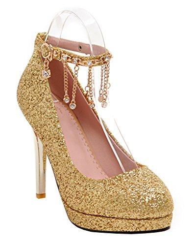 YE Damen Knöchelriemen High Heels Plateau Glitzer Strass Stilettos Pumps mit Schnalle und Pailletten Party Elegant Hochzeit Schuhe Gold