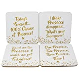 Prosecco slogan coasters. - Set of 4 Coasters Best Review Guide