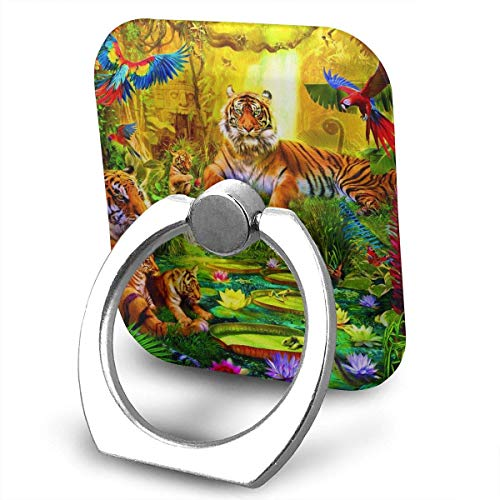 Nicegift Tiger Family in The Jungle 360 Rotating Phone Metal Buckle Tablet Finger Grip Ring Stand Holder Kickstand for All Phones Tablets