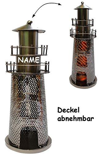 Unbekannt Teelichthalter -  Leuchtturm  - aus Metall - Incl. Name - als Teelicht Ständ..