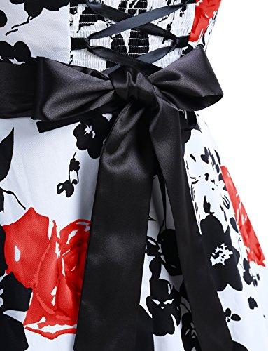 Dressystar DS1957 Vintage Tupfen Retro Cocktail Abschlussball Kleider 50er 60er Rockabilly Neckholder Rot Blume XS - 6