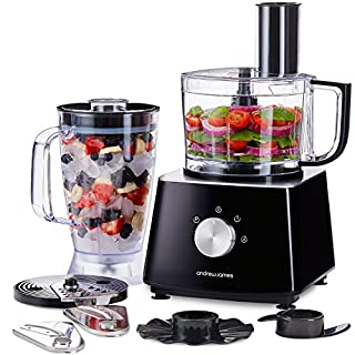 Andrew James Food Processor & Blender with Jug & Bowl Plus a Range of Accessories | Safety Lid Locking System | Great For Baby Food Smoothies Soups & Salads Etc
