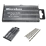 20pcs Forets Hélicoïdaux Set Kit Micro HSS Precision Craft Tool Apportez la Boîte