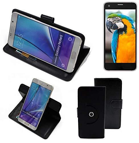 K-S-Trade® Hülle Schutzhülle Case Für -Vestel V3 5040- Handyhülle Flipcase Smartphone Cover Handy Schutz Tasche Bookstyle Walletcase Schwarz (1x)