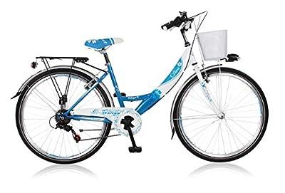 26 Zoll Cityrad Cityfahrrad Mädchenfahrrad Kinderfahrrad Citybike City Fahrrad 6 Gang Shimano STVO DIVA BLAU WEISS