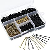 200 Pieces Bobby Pins and U Hair Pins Hair Clips and 100 Pieces Rubber Hair Bands with Storage Box for Girls and Women, Gold and Black