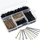 200 Stück Haarspangen und U Haarnadel und 100 Stück Haargummi mit Aufbewahrungsbox für Mädchen und Frauen, Gold und Schwarz