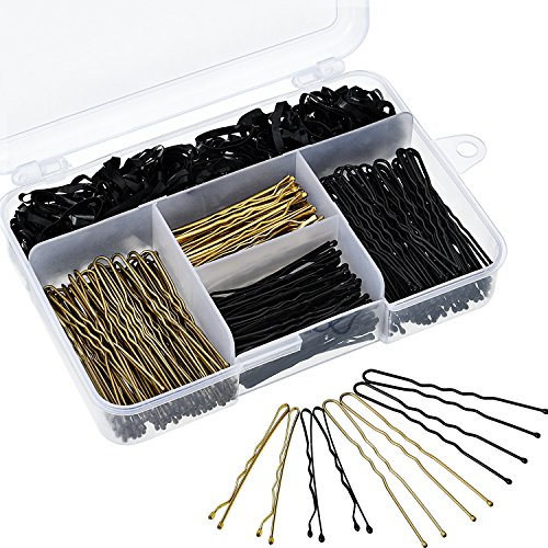 200 Stück Haarspangen und U Haarnadel und 100 Stück Haargummi mit Aufbewahrungsbox für Mädchen und Frauen, Gold und Schwarz -