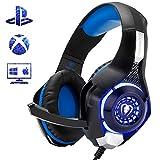 Gaming-Headset für PS4, Comfort Noise Reduction Kristallklarheit 3,5 mm LED-Kopfhörer mit Mikrofon für Xbox One PC Laptop Tablet Mac Smartphone