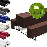 Hussen-Set für Bierzeltgarnitur, Länge 180 cm - 1x Biertischhusse 180x50 cm & 2x Bierbankhusse 180x25 cm - Braun