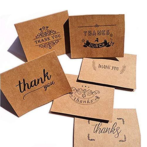 Thank You Karten, Stricknadel 6 Designs Thank You Note mit Umschlägen und Aufkleber Valentinstag Grußkarte Geschenk Karten für Thanksgiving Hochzeit Dusche Geburtstag Mutter 's Day Holiday Grußkarte (Goldene Stricknadeln)