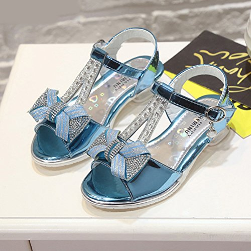 Zhhlinyuan Kids Fashion Princess Shoes Dress Up Summer Girls Casual High Heels Sandals blue