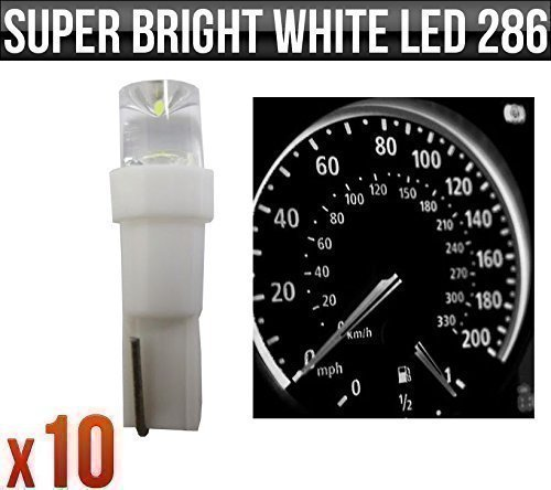 12v-12w-t5-5mm-super-bright-white-led-wedge-car-dashboard-speedo-bulbs-286-x-10