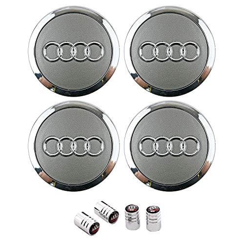 Libra 4 Nabenkappen kompatibel 69 mm Silber Silber matt Weiß/Chrom für Audi A3 A4 A5 A6 A7 TT Q3 Q5 Q7 Felgen Lega Nieten A++ Radkappen Zentral 4B0601170A