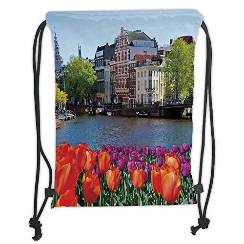 Drawstring Backpacks Bags,Landscape,European City Holland Amsterdam Scenery of Old Victorian Era Houses Art Print,Multicolor Soft Satin,5 Liter Capacity,Adjustable String Closure,T - Amsterdam Hobo