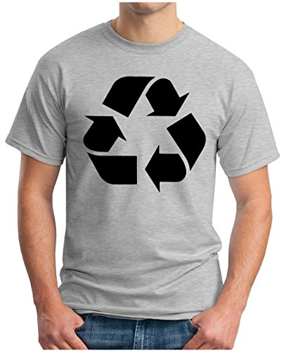 OM3 - BIG BANG - RECYCLE - T-Shirt Recycling Logo Leonard, S - 5XL Grau Meliert