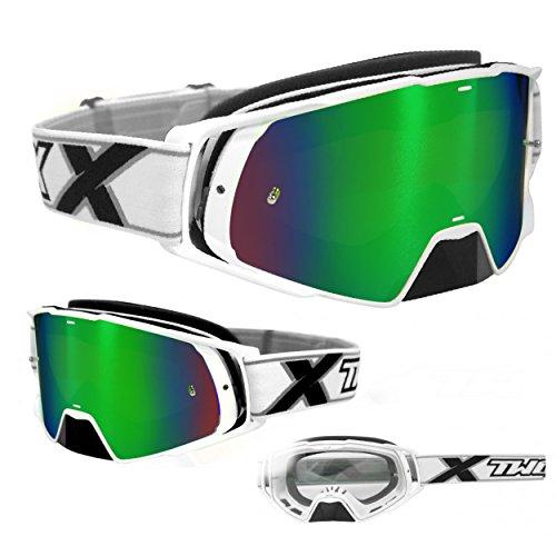TWO-X Rocket Crossbrille schwarz Glas verspiegelt Iridium MX Brille Nasenschutz Motocross Enduro Spiegelglas Motorradbrille Anti Scratch MX Schutzbrille Nose Guard