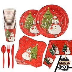 Idea Regalo - Kompanion Set da 141 Pezzi Servizio da Tavola per Feste di Natale con Piatti, Tazze, Cucchiai e Forchette, Coltelli, Tovaglioli, Tovaglie