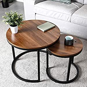Priti Engineered Wood Modern Nesting Side Coffee Tables, Stable and Easy Assembly, Wood Tabletop with Metal Frame - Brown, Set of 2, for Living Room
