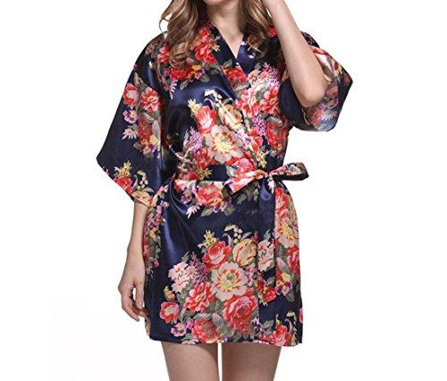 YueLian Camicia da Notte Liscio Mini per Donna Vestaglia Fiori Stampati Elegante Blu scuro