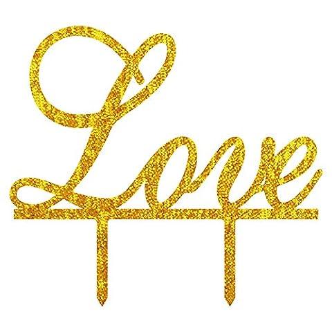 Lugii Cube Creative gâteau de mariage Acrylique Lettre d'amour brillant mariée marié fiançailles anniversaire de mariage Décoration de gâteaux Doré