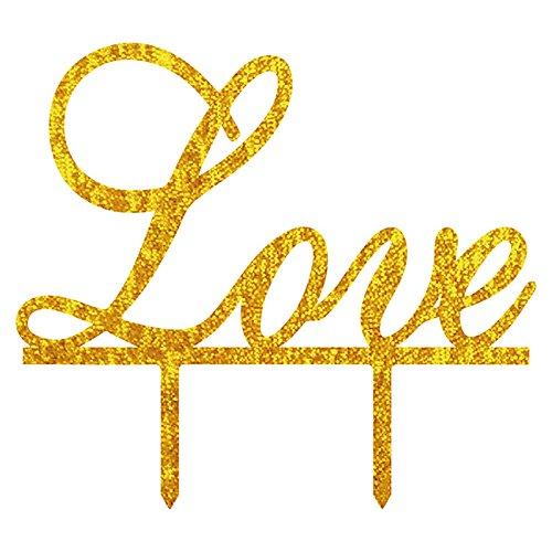 zeit Tortenaufsatz Acryl Love Buchstabe Shining Bride Groom Engagement Jahrestag Kuchen Dekoration Golden (Halloween-kuchen-dekoration Walmart)