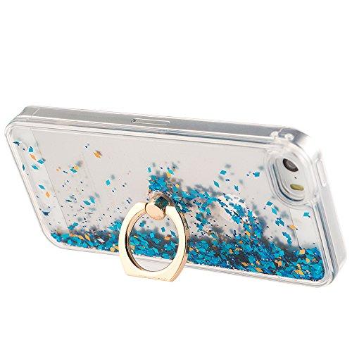 EMAXELERS iPhone 7 Hülle Gold,iPhone 7 Case Transparent Clear Glitzer Liquid Crystal Hülle,iPhone 7 Hard Hülle,iPhone 7 Hülle Rosa,iPhone 7 Hülle Bling 3D Kreative Liquid Case Etui für iPhone 7 4.7 Zo A Diamond Liquid 1