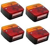 Hillfield® 4 Stück Universal Rücklichter, Rückleuchten für KFZ Anhänger , komplett mit Glühlampen (4 Rücklichter)
