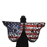 Rovinci Damen Kleine Schmetterlingsflügel Schal Frauen Schmetterling Flügel Umhang Kostüm Faschingskostüm Mini Rainbow Butterfly Wings Nymphe Pixie Poncho Kostüm Zubehör für Show Daily Party