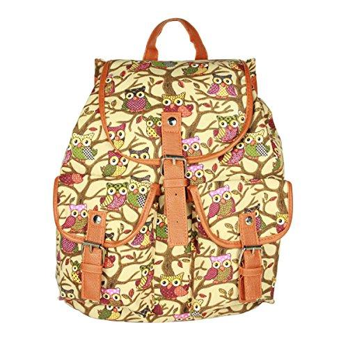 Owbb® Mädchen Eule Owl und Niederlassung Gelblich Leinwand Damen Mode Drucken Rucksäcke/ Kinder Schulrucksäcke