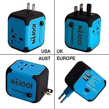 Adaptateur de Voyage avec 2 USB Adaptateur Universel Pris de Courant pour UE/US /UK /AUS Utilisé dans plus de 150 pays Adaptateur Chargeur avec deux fusible(fusible de rechange)-Bleu-MILOOL