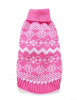 Weant Christmas Fashion Comfortable Pet Clothes Festival Dress Sweater Knitwear (M, Pink) 7