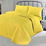 Nimsay Home Soft Plain Colour Quilted Bedspread Throw Embroidered Embossed Coverlet - Celery - 265x265cm