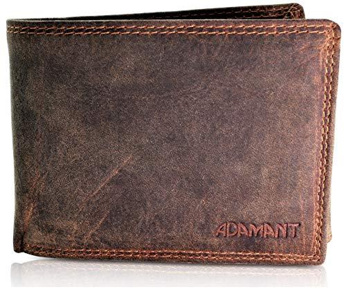 Adamant® RFID Echtleder Herren Geldbörse in Vintage Braun Querformat mit 12 Kartenfächern und Münzfach mit Druckknopf