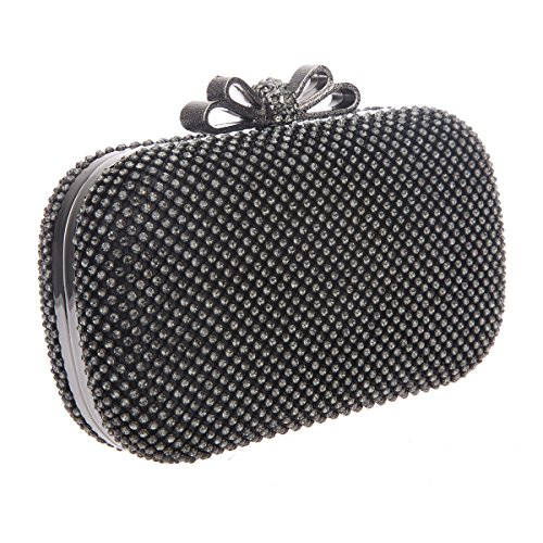 Bonjanvye Bow Purse for Girls Crystal Rhinestone Clutch Evening Bags Pink Gray