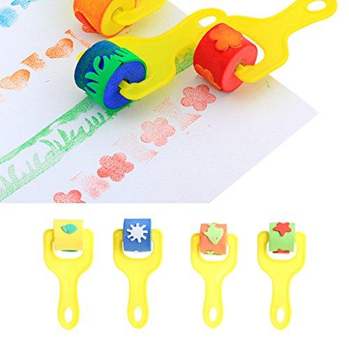 ng Briefmarken Schwamm und Kunststoff Blatt DIY Karte Geschenk Handwerk 4 Stück Schwamm Roller Farben Randomyly ()