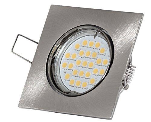 LED Einbaustrahler Set inkl. GU10 5Watt LED Leuchtmittel warmweiß, 430 Lumen eckig Quadratisch Einbaurahmen Einbauspot Spot Lampe Licht Deckenlampe