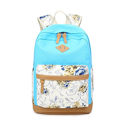 Jugend Light Blue Kinder Schuhe (Blume gedruckten Casual Canvas Laptop Tasche Schule Rucksack leichte Rucksäcke für Teen junge Mädchen)
