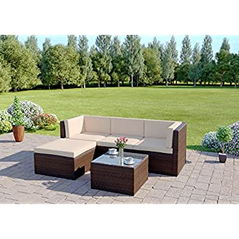 Abreo Rattan Wicker Weave Garden Furniture Conservatory Modular Corner Sofa Set (5 Piece Brown Milano)