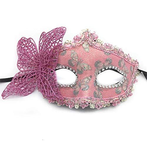 Fun Holi-day Supplies Halloween Maske Halbes Gesicht Schmetterling Mädchen Cosplay Maskerade,Pink (Kleine Mädchen Halloween-make-up Gruselige)
