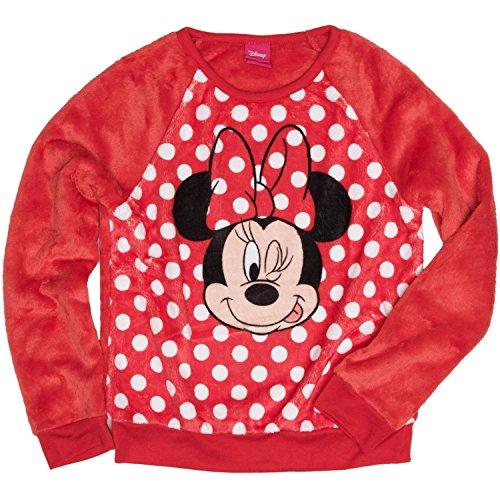 Minnie Mouse Disney Winking Girls' Long Sleeve Crew Neck Sweatshirt (Winking Girl)