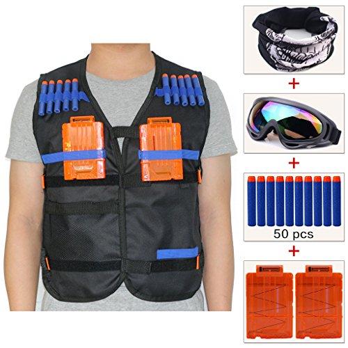 COSORO Kinder Taktische Weste Jacken Set(mit Schädel-Gesichtsmaske +Bunte Windproof Schutzbrille+50er Blue Darts Nachfüllpack+2er Clip Magazine für 5 Darts) für Nerf Toy Gun N-strike Elite Series