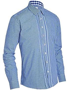 Almsach Herren Slim Fit Trachten Hemd LF174 jeansblau
