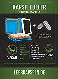 Kapselfüller + 1000 Leerkapseln | Platz für 100 Kapseln | Größe 00 | Kapselfüllgerät zum befüllen von Kapseln | getrennte Kapselhälften [kein vorheriges öffnen nötig] vegan HPMC (Kapselfüller inkl. 1000)