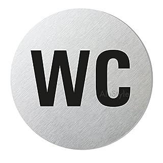 Alustyle WC-Schild I Toilettenschild I Türschild WC I Ø 75 mm I Aluminium-Edelstahloptik I Sparversand I Nr.39004-S