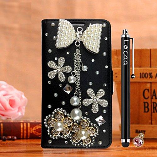 Locaa(TM) Pour Apple IPhone 7 Plus IPhone7+ (5.5 inch) 3D Bling Case Coque Love Cuir Qualité Housse Chocs Étui Couverture Protection Cover Shell Phone Avec Nous [Couleur 3] Bowknot 2 - Noir Bowknot 2 - Noir