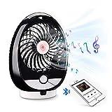 Olycism Ventilador portátil con altavoz Bluetooth (3 velocidades) mini ventilador de sobremesa con altavoz Bluetooth Batería recargadle incorporada de 1800mAh soporte para tarjeta TF de hasta 64 GB